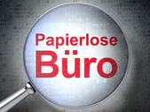 Finance concept: Papierlose Buro(german) with optical glass on d — Stock Photo