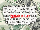 Business concept: Papierlose Buro(german) on Money background — Foto Stock