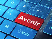 Time concept: Avenir(french) on computer keyboard background — 图库照片