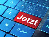 Timeline concept: Jetzt(german) on computer keyboard background — Photo