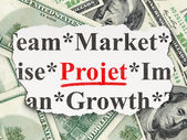 Business concept: Projet(french) on Money background — Foto de Stock
