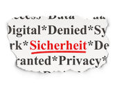 Protection concept: Sicherheit(german) on Paper background — Stockfoto
