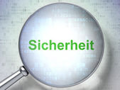 Protection concept: Sicherheit(german) with optical glass on dig — Stockfoto
