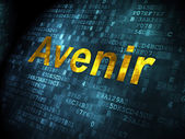 Time concept: Avenir(french) on digital background — 图库照片