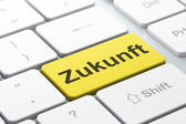 Timeline concept: Zukunft(german) on computer keyboard backgroun — Stok fotoğraf