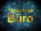 Bedrijfsconcept: Papierlose Buro(german) op digitale achtergrond — Stockfoto