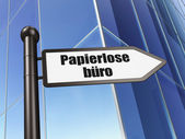 Finance concept: Papierlose Buro(german) on Building background — Stockfoto