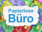 Business concept: Papierlose Buro(german) on Credit Card backgro — Stock Photo