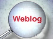 Web development concept: Weblog(german) with optical glass on di — Foto de Stock