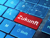 Timeline concept: Zukunft(german) on computer keyboard backgroun — 图库照片