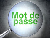 Safety concept: Mot de Passe(french) with optical glass on digit — Stockfoto