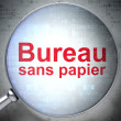 Business concept: Bureau Sans papier(french) with optical glass — Stock Photo