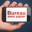 Finance concept: Bureau Sans papier(french) on smartphone — Stock Photo #32663079