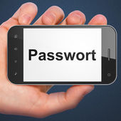 Emniyet konsepti: smartphone cep telefonu ile Passwort(german — Stok fotoğraf