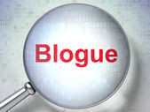 Web development concept: Blogue(french) with optical glass on di — Foto Stock