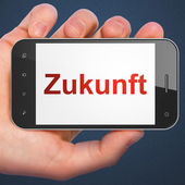 Timeline concept: Zukunft(german) on smartphone — Stock Photo