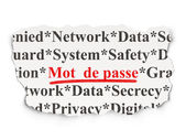Privacy concept: Mot de Passe(french) on Paper background — Stockfoto