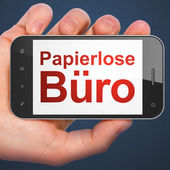 Business concept: Papierlose Buro(german) on smartphone — Stock fotografie