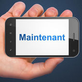 Timeline concept: Maintenant(french) on smartphone — Stock fotografie