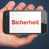 Privacy concept: Sicherheit(german) on smartphone — Foto de Stock