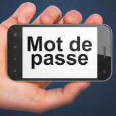 Security concept: Mot de Passe(french) on smartphone — Stock Photo