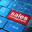 Advertising concept: Sales Management on computer keyboard backg — Foto Stock #33138737