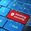Security concept: Shield With Keyhole and Banking Security on co — Stock Photo