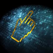концепция развития web: курсор мыши на цифровой фоне — Стоковое фото