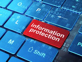 Privacy concept: Information Protection on computer keyboard bac — Stock Photo