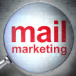 Marketing concept: Mail Marketing with optical glass — Zdjęcie stockowe #33140345