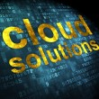 Cloud networking concept: Cloud Solutions on digital background — Stock Photo #33143161