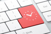 Timeline concept: Clock on computer keyboard background — Stock Photo