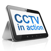 Security concept: CCTV In action on tablet pc computer — Stock Photo