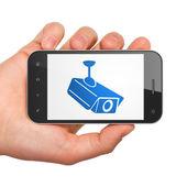 Privacy concept: Cctv Camera on smartphone — Photo