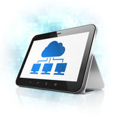 Cloud technology concept: Cloud Network on tablet pc computer — Stok fotoğraf