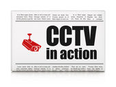 Safety news concept: newspaper with CCTV In action and Cctv Came — Stockfoto