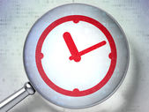 Timeline concept: Clock with optical glass on digital backgroun — Foto Stock