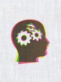 Information concept: Head With Gears on fabric texture backgroun — Foto Stock
