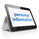 Protection concept: Personal Information on tablet pc computer — Stockfoto