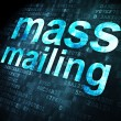 Photo: Advertising concept: Mass Mailing on digital background