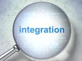 Concepto de finanzas: integración con vidrio óptico — Foto de Stock