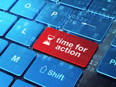 Time concept: Hourglass and Time for Action on computer keyboard — Foto Stock