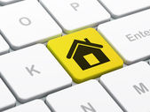 Finance concept: Home on computer keyboard background — Zdjęcie stockowe