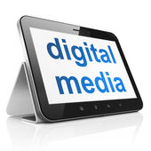 Advertising concept: Digital Media on tablet pc computer — Stock Photo