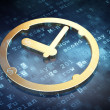 Time concept: Golden Clock on digital background — Stockfoto