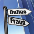 Safety concept: Online Fraud on Building background — 图库照片 #34087917
