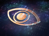 Protection concept: Golden Eye on digital background — Stock Photo