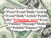 News concept: Technology News on Money background — Stock Photo
