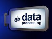 Konzept: Datenverarbeitung und Räder auf Plakat Hintergrund — Stockfoto