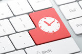 Time concept: Clock on computer keyboard background — Foto Stock